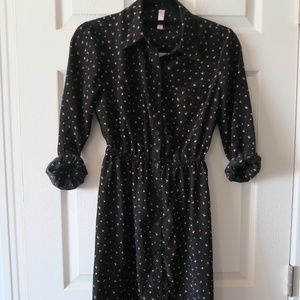 Button up Black Dress w/ Pockets
